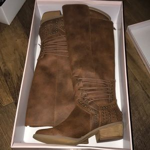 Not Rated Rumi Tan riding Boots 7.5